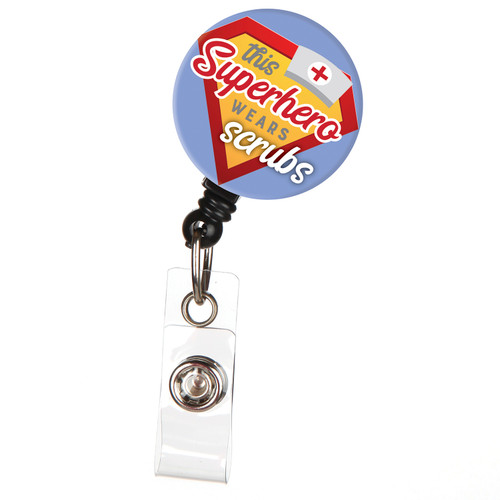 This Superhero Wears Scrubs Nurse Retractable ID Badge Reel