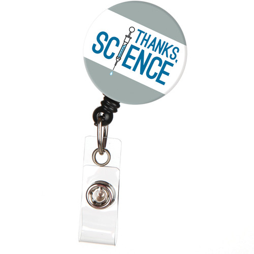 Thanks Science! Vaccine Syringe badge reel