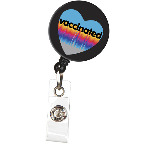 Vaccinated Heart ID Badge Reel with Retractable Cord