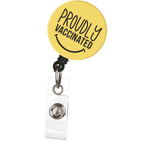 Proudly Vaccinated ID Badge Reel with Retractable Cord