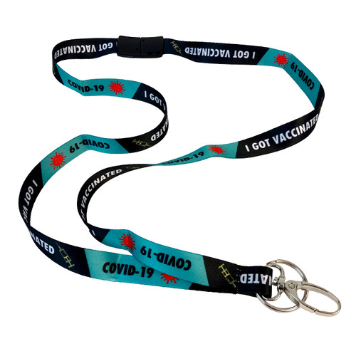 I Got Vaccinated Lanyard with Hook and Key Ring