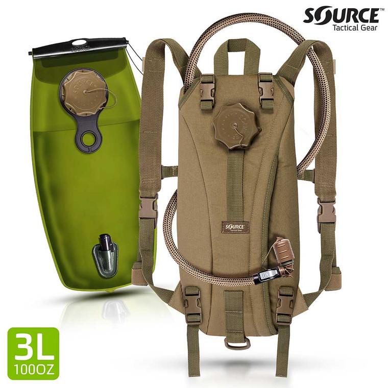 Source Tactical Hydration Rider 3 Liter 100 oz Low Profile Hydration System Shown in Coyote Brown