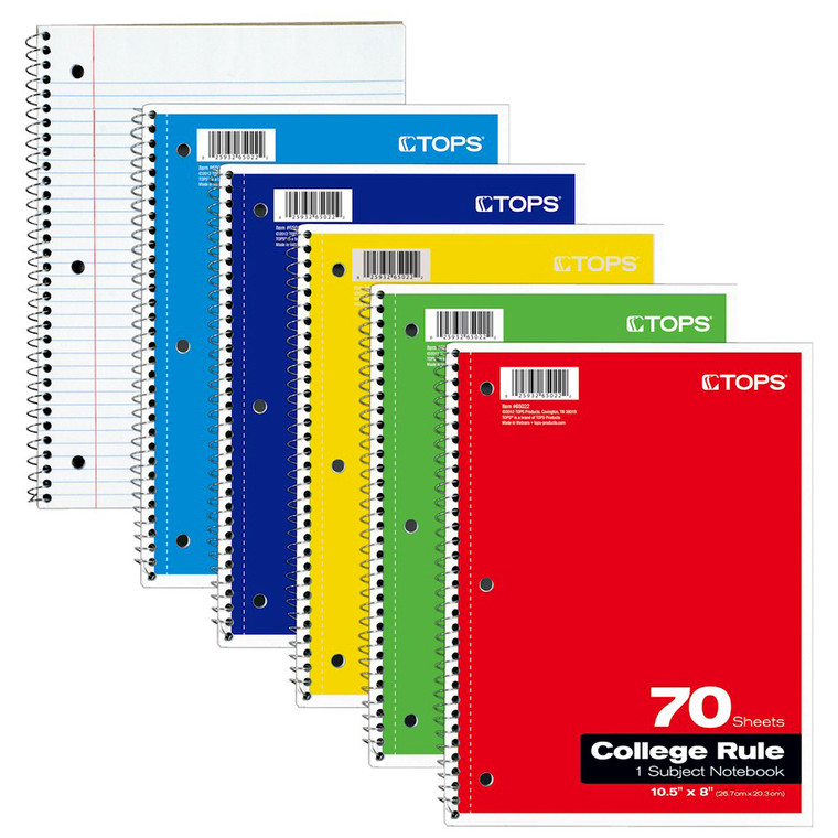 TOPS 1 Subject Notebook, 70 Sheets Assorted Colors, College Ruled