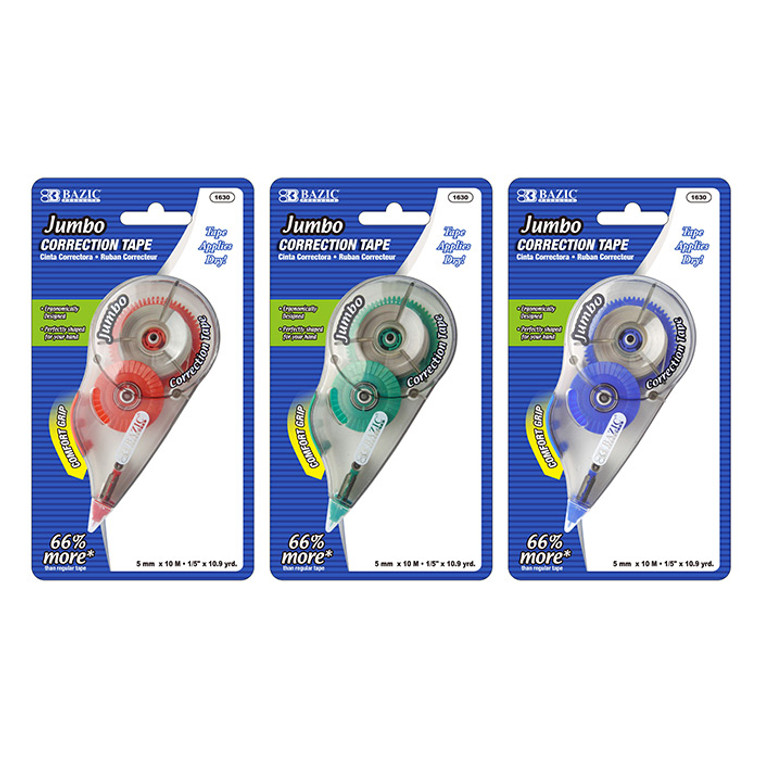 "BAZIC 5 mm x 394"" Jumbo Correction Tape W/ Grip"