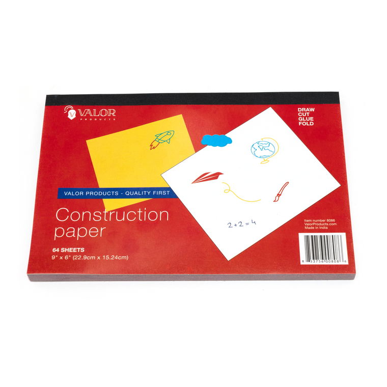 Valor Products Assorted Colors Construction Paper, 9 x 6 Inches, 64 Sheets
