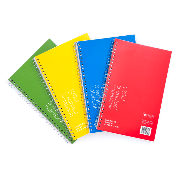 Valor Products 5.75 x 9 Inch Subject Spiral Notebook, Wide Ruled, 120 Sheets