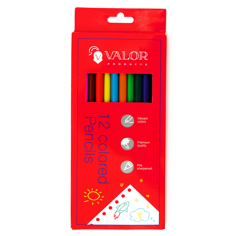 Valor Products Colored Pencils, Pre-sharpened, Back to School Supplies, 12 Assorted Colors