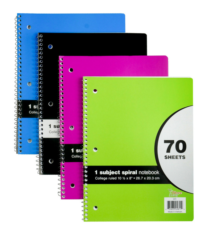 1 Subject Spiral Bound College Ruled Notebooks, 70 Sheets
