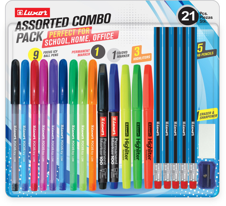 Luxor Assorted Combo Writing Pack, Pens Marker Pencils