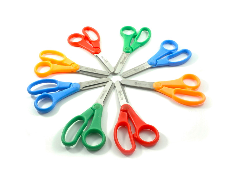 Valor Products 5-Inch Soft Grip Stainless Steel Safety Scissors  Bulk Set