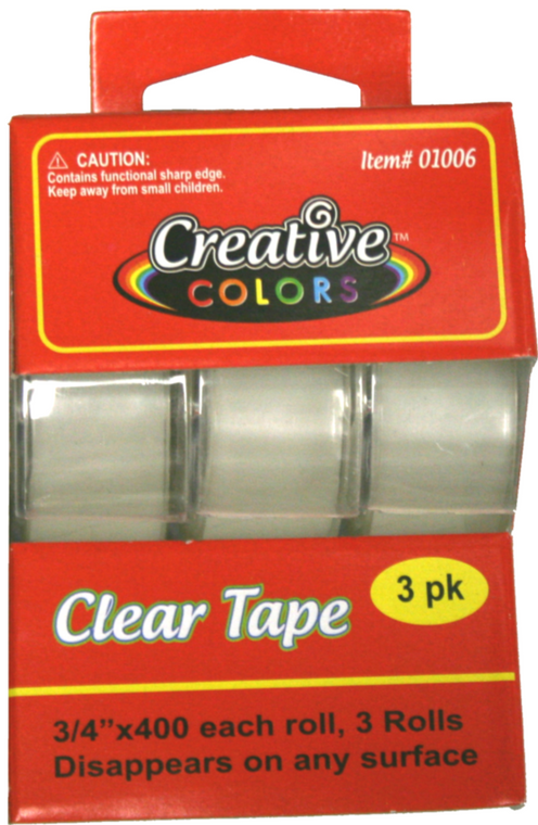 Creative Colors Clear Tape - 3 Ct - 3 X 400 Inches