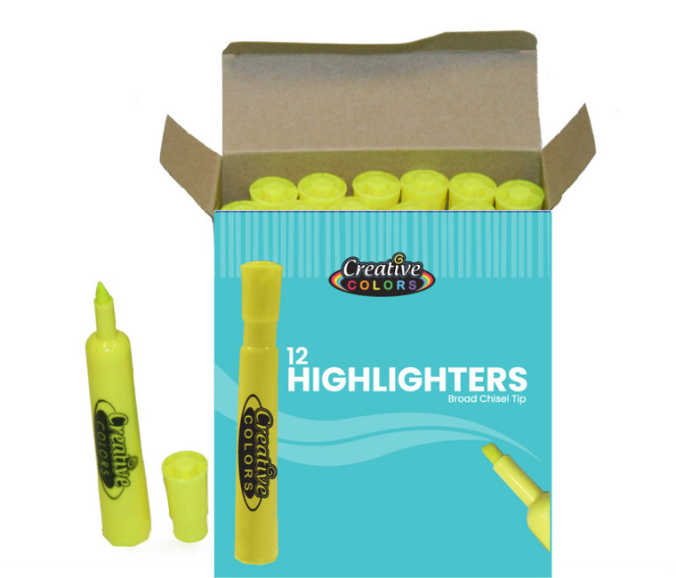 Creative Colors Highlighters - Broad Chisel Tip - Yellow - Bulk