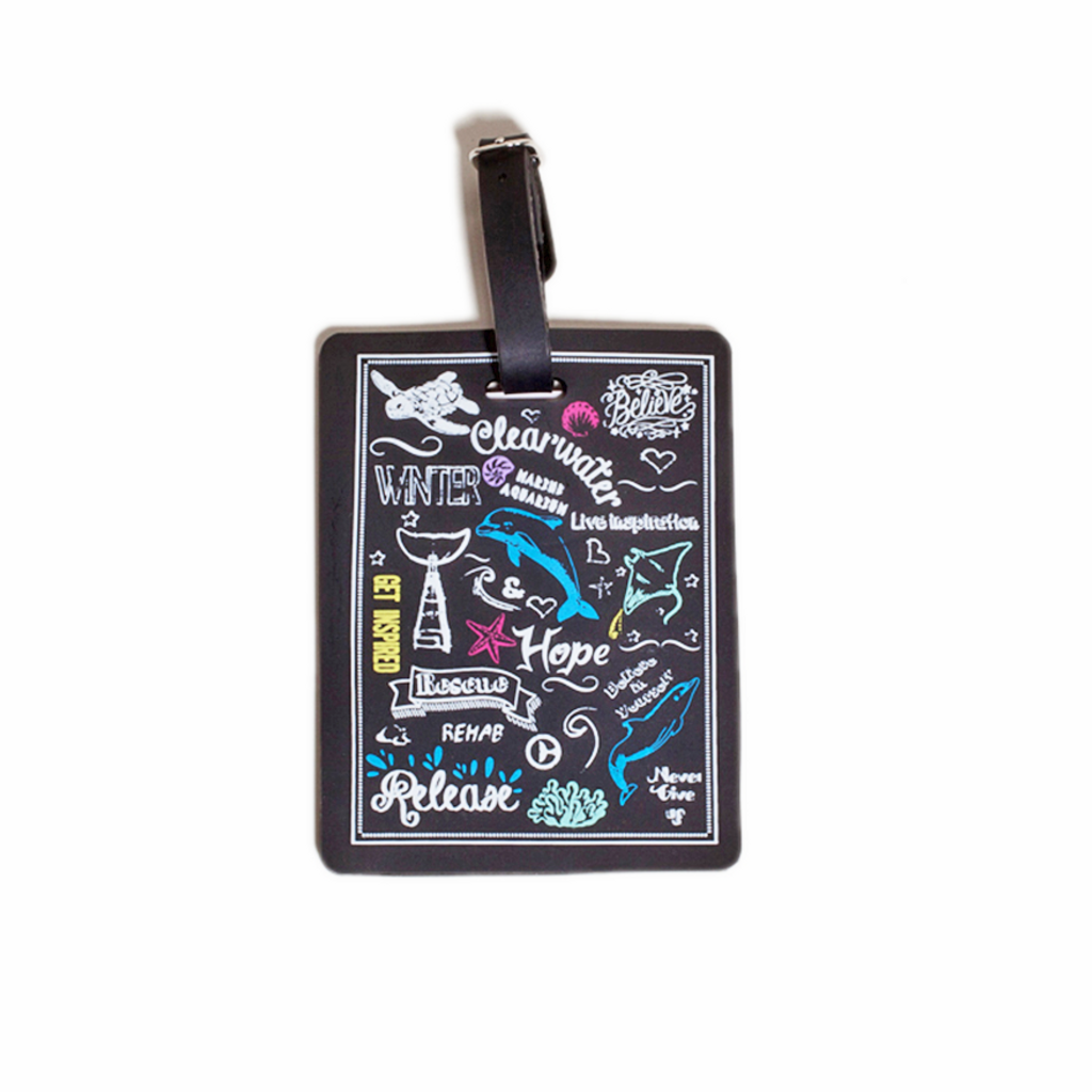 Clearwater Marine Aquarium Inspirational Chalk Print Luggage Tag