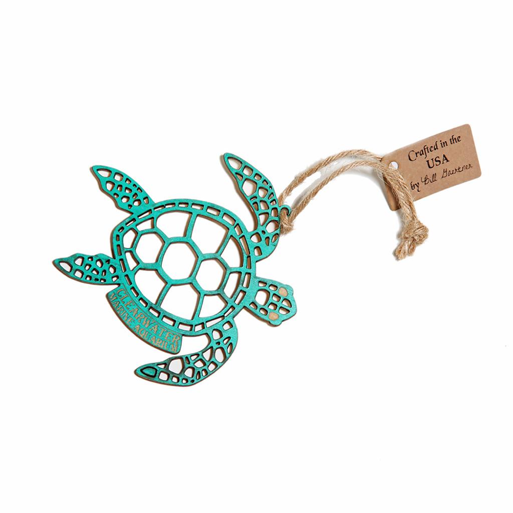 Clearwater Marine Aquarium Tribal Sea Turtle Wooden Ornament
