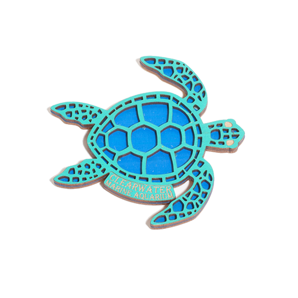 Clearwater Marine Aquarium Tribal Sea Turtle Wooden Magnet