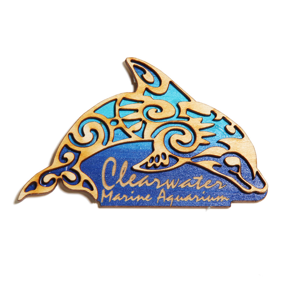 Clearwater Marine Aquarium Tribal Dolphin Wooden Magnet