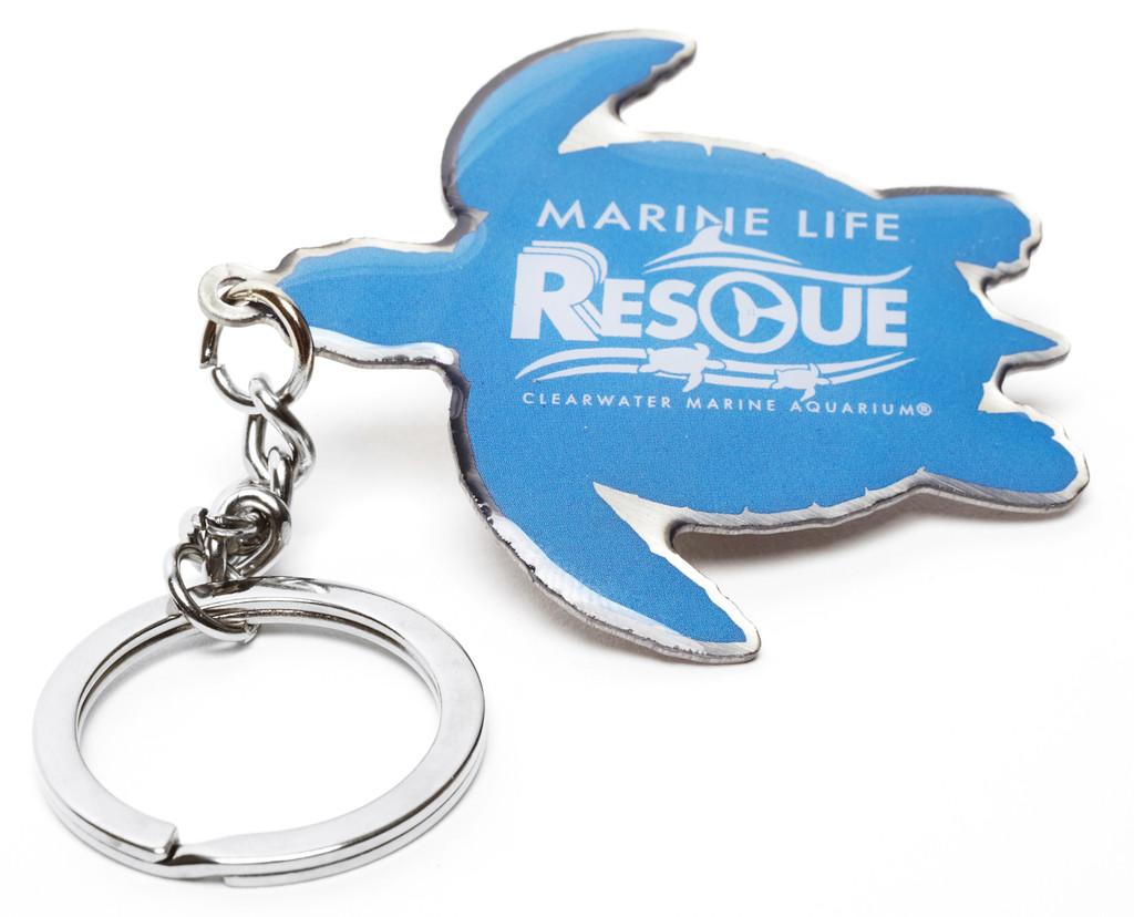Marine Life Rescue Logo Turtle Metal Keychain