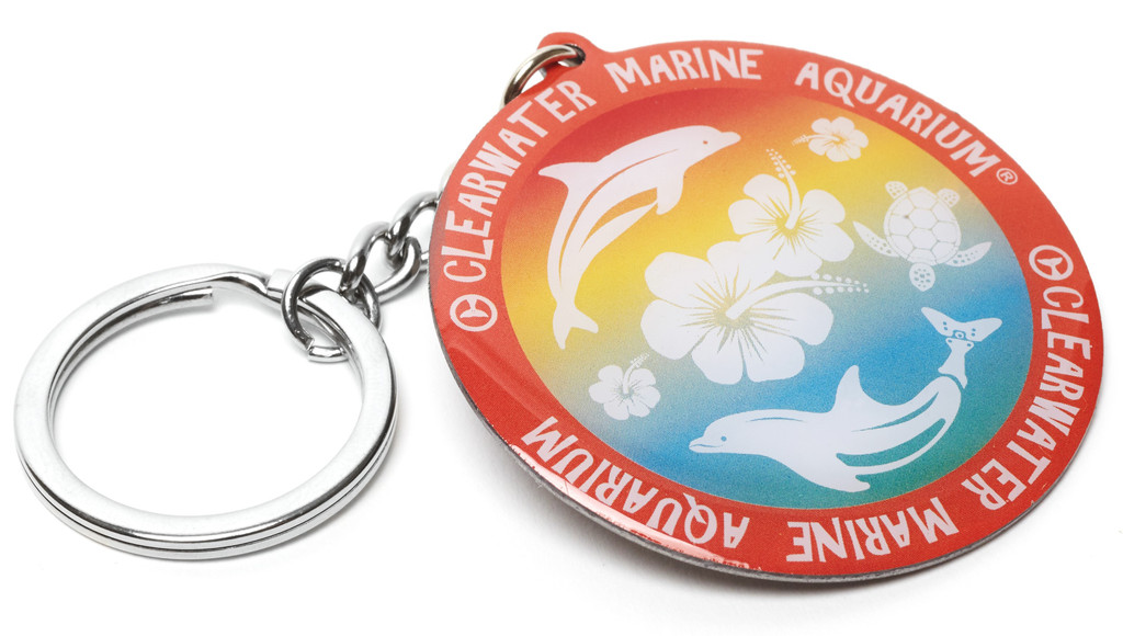 Clearwater Marine Aquarium Rainbow Hibiscus Metal Keychain