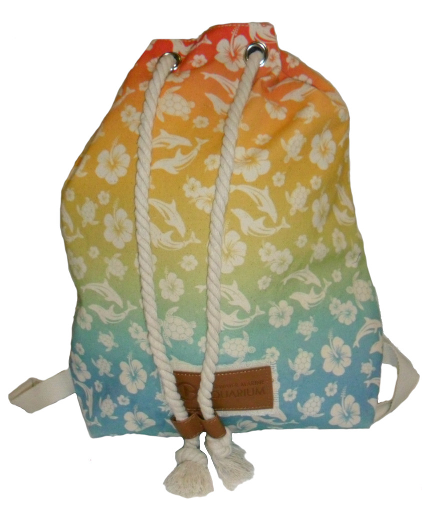 Clearwater Marine Aquarium Rainbow Hibiscus Canvas Tote Backpack