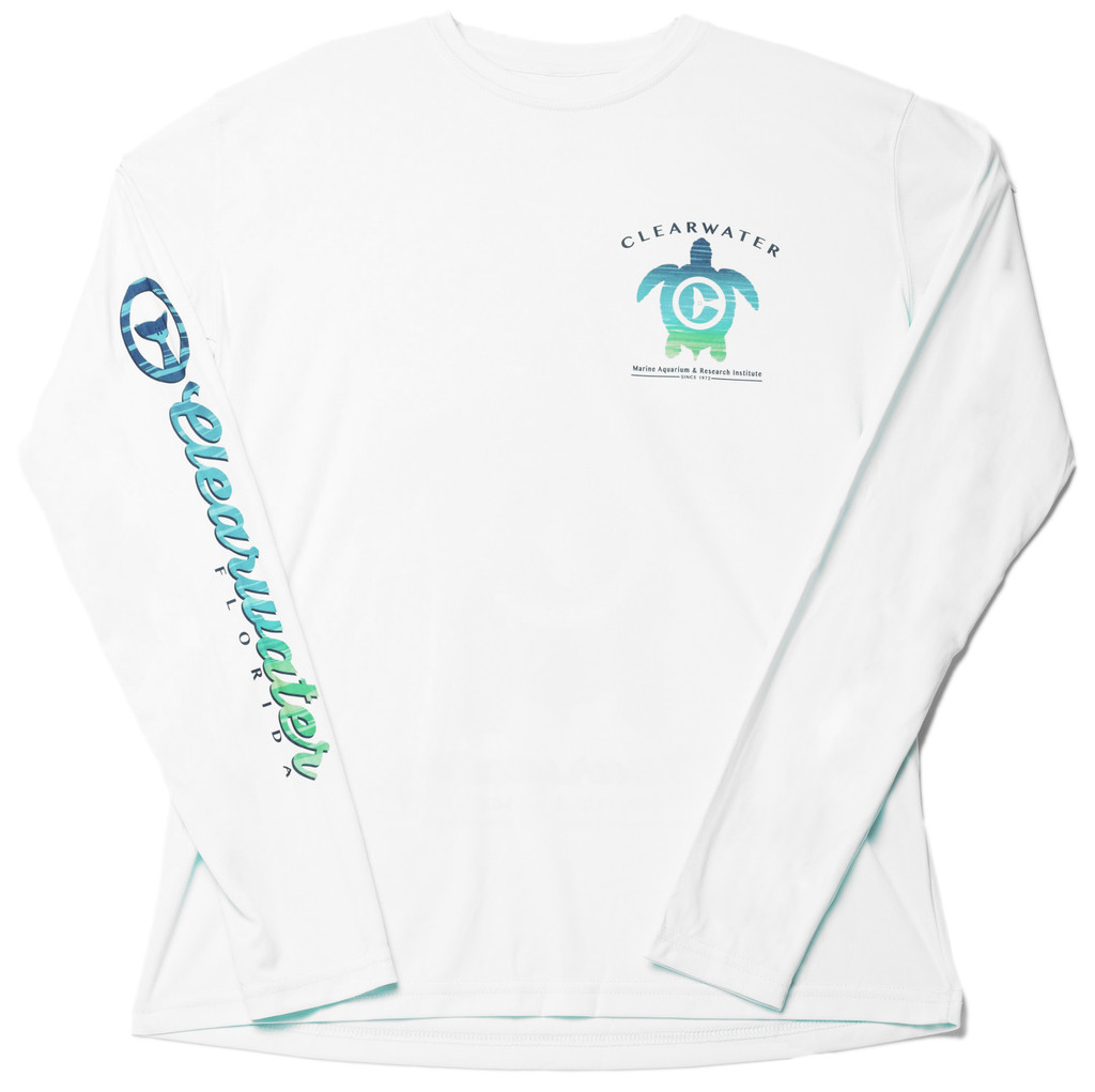 Clearwater Marine Aquarium & Research Institute Devotion To The Ocean Men's Long Sleeve Performance Tee - White