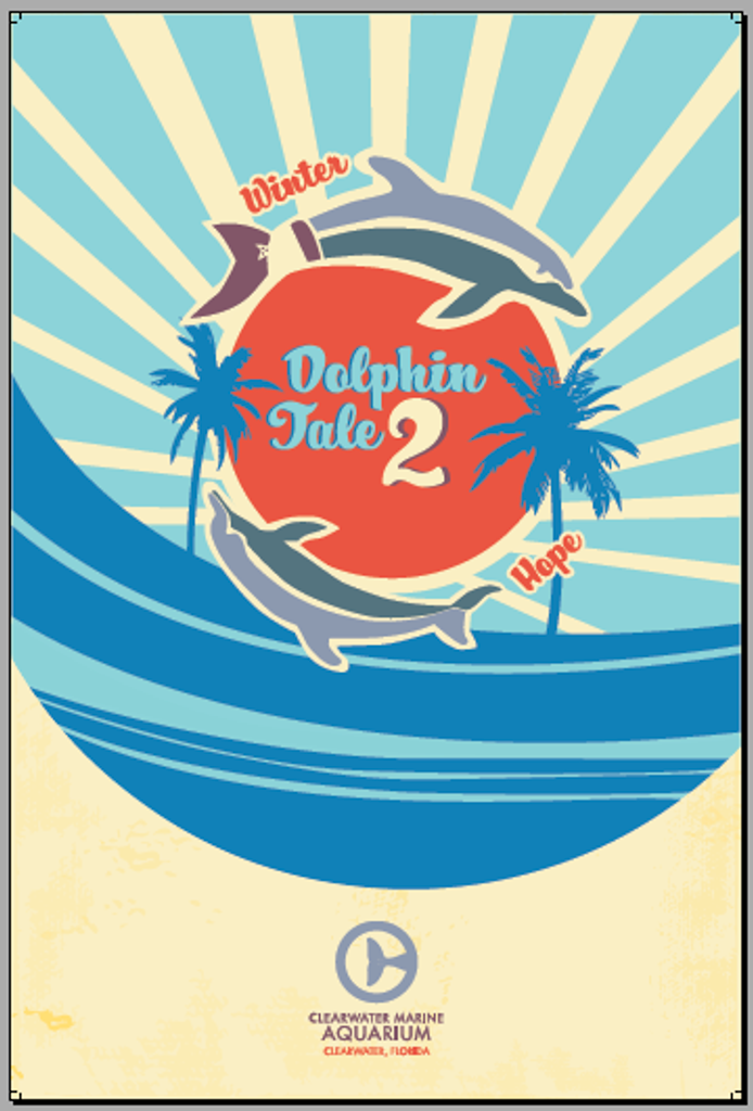 Dolphin Tale 2 Winter & Hope Retro Poster