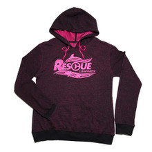 Rescue Authentic Wave Juniors' Glitter Pullover Hoodie - Pink & Black