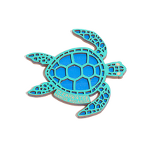 Clearwater Marine Aquarium Tribal Sea Turtle Wooden Magnet