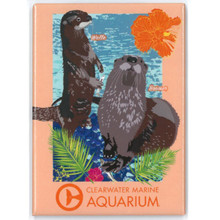 Clearwater Marine Aquarium Otters Walle & Boomer Rectangle Magnet
