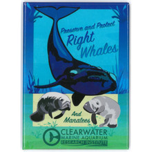 Clearwater Marine Aquarium Research Institute Right Whales & Manatees Rectangle Magnet