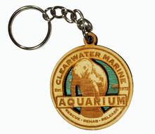 Clearwater Marine Aquarium Manatee Wood Keychain