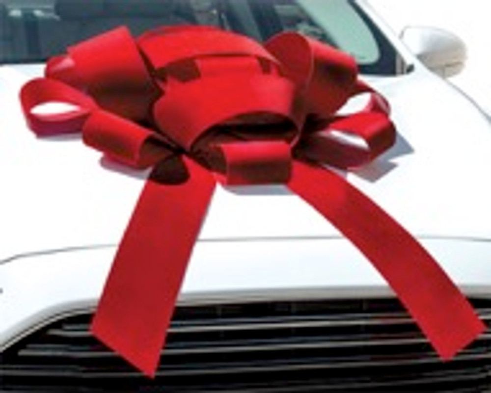 "Large 30"" Structural Magnetic Car Bow with red velvet ribbon and 2 tails"