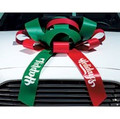 "Large 30"" Structural Magnetic Car Bow with custom messaging on tails and choice of color"