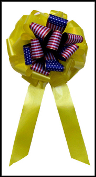 Patriotic Yellow Ribbon Bow - Flag Ribbon Bow