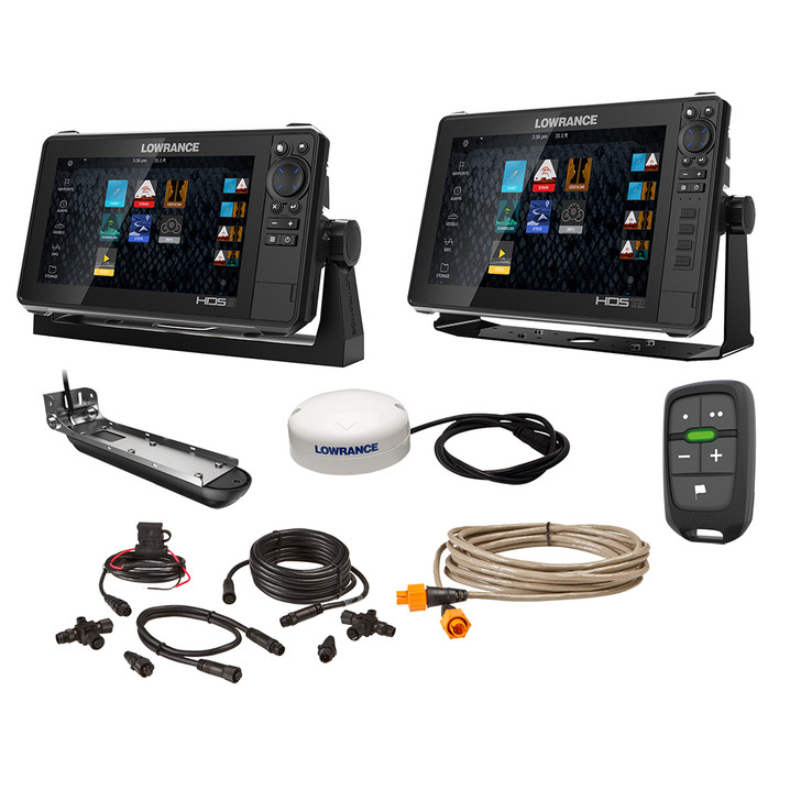 """Lowrance HDS Live Bundle - 9""""  12"""" Display AI 3-In-1 T\/M Transducer, Point 1 GPS Antenna, LR-1 Remote  Cabling [000-15782-001]"""