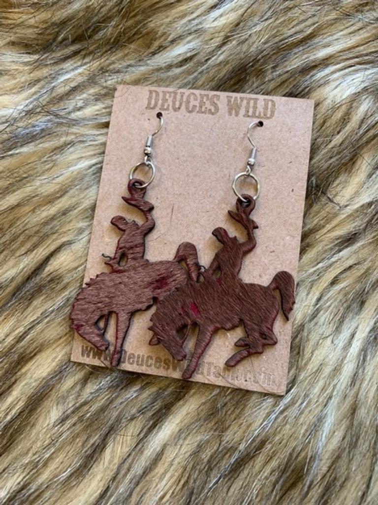 In Stock Brown & Pink Acid Wash Bucking Horse Earrings