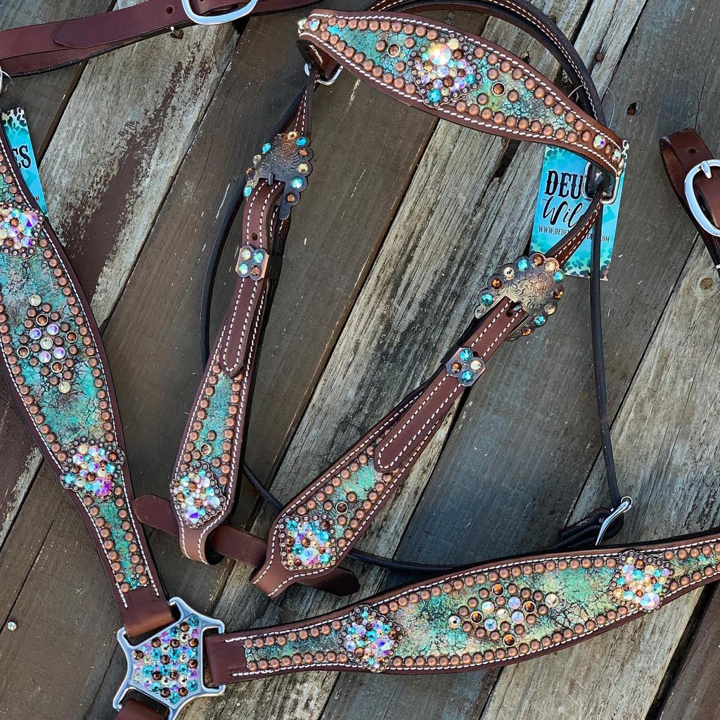 Turquoise & Bronze Crackle Confetti Set