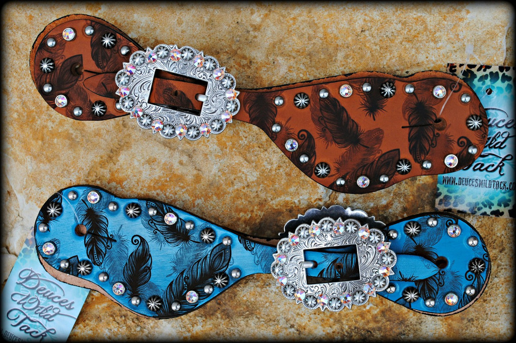 Engraved Feather Spur Straps