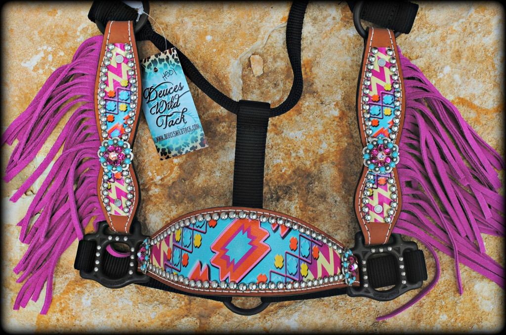 Personalized Pink & Turquoise Chevron Aztec Cheek Halter