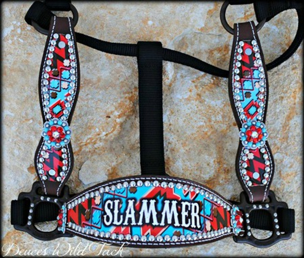 Personalized Red and Turquoise Chevron Aztec Cheek Halter