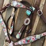 Blooming Cactus Tack Set With Border Square Conchos