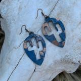 IN STOCK Blue & Copper Acid Wash Cactus Teardrop Earrings