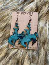 In Stock Teal Acid Wash Bucking Horse Earrings