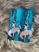 In Stock Tan & Silver Acid Wash Bucking Horse Earrings