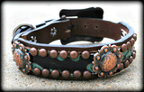 "Hide With Conchos Dog Collars 10-21"" (Pick Your Hide)"