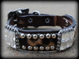 "Wild Hide & Bling Dog Collar 10-21"" (Pick Your Hide)"