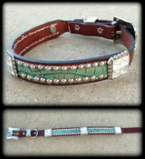 "Classic Hide & Bling Dog Collar 10-21"" (Pick Your Hide)"