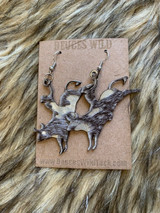 In Stock Brown & Silver Acid Wash Bucking Bull Earrings