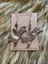 In Stock Tan & Silver Acid Wash Bucking Bull Earrings