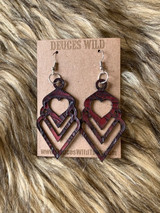 Heart Cut Out Earrings Cranberry Floral