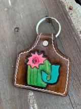 Handtooled Keychain-Cactus J